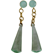 Little Creations Aqua Chalcedony Facetted Cabochon Gem and Facetted Lucite Long Drop Geometric Shape Pierced Vermeil Earrings