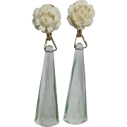 Little Creations  Carved Bone Top Cabochon with Aqua Facetted Lucite Long Drop Geometric Shape GP Screw Back Earrings