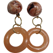Little Creations Peach and Marbled Peaches/Cream/Chocolate Cabochon and Hoop Ring Leverback Pierced Earrings