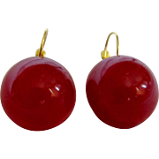 "Art Deco Bakelite Translucent Red Cabochon 22mm/3/4"" Dome Dormeuse Earrings"