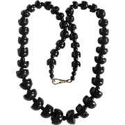 Antique Whitby Jet Tulip Shaped Graduated Beads and Albert Closure Necklace Certified Appraisal $ 1900