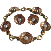 Early Mid Century 12kt Rose/Yellow GF AA Fine Quality Cultured Akoya Pearls Half Shell Style Bracelet and Screw Back Earrings Certified Appraisal $675