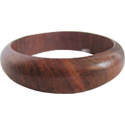 Vintage Carved Rounded Edge Teak Bangle