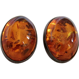Vintage Baltic Amber Oval Cabochon Clip Earrings