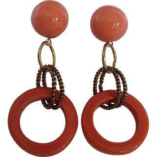 Little Creations Luscious Lucite Cabochon and Hoop Droops Post Pierced Earrings