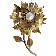 Early 20th Century 7Kt Krementz Hand Crafted AA Akoya Cultured Pearl and Natural Blue Zircons Flower Brooch Certified Appraisal $2565