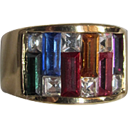 Mid Century 12Kt Rainbow Crystal Paste Baguette Gemstones Size 10 1/2 Ring Certified Appraisal $1495