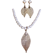 Little Creations Cultured Freshwater Pearl Necklace with Matching Gold Plated Skeletonized Leaf Pendant and Earrings