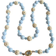 Little Creations 18K Aquamarine Cabochon with Carved Bone Blue Galalith/Aquamarine Bead Mix Graduated Necklace
