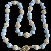 Little Creations 18K Aquamarine Cabochon with Carved Bone Blue Galalith/Aquamarine Bead Mix Graduated Necklace