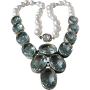Little Creations Blue Topaz 163 Carat! Freshwater Pearl 850 Silver Setting Necklace Certified Appraisal $4210