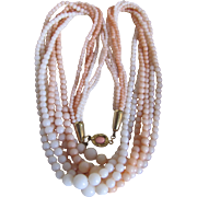 Vintage 18kt GP 5 Strand Galalith Angel Skin Faux Coral Graduated Torsade Necklace with Coral Cabochons Clasp