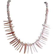 Vintage 18kt Angel skin Coral and Brutalist Style Conch Carved Necklace