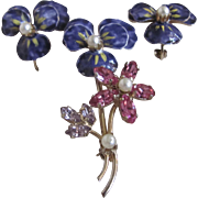 Vintage Natural Pearls and Paste Gems Verre Emaille Pansy Brooch and Matching Clip Earrings Accessocraft GP Certified Appraisal $715