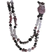 Vintage Lee Sands Rhodonite Carved Rose/Rose Quartz/Onyx Beads in Festooned 2 Strand Necklace