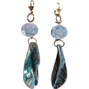 "Little Creations Carved Flower Amazonite Disc and Abalone Drops GP Leverback Huge Scale 4"" Long Earrings"