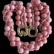 Vintage Kenneth Lane Pink Enhanced 12mm Coral Torsade Necklace Certified Appraisal $3210