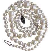 "Antique Natural Pearls Graduated A Silver Cream 20"" Necklace Certified Appraisal $3890"