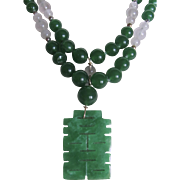 Little Creations Jadeite Pendant with Graduated Imperial Green Glass Rose Quartz Jadeite Cabochon Double Strand Necklace Certified Appraisal $685