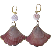 "Little Creations Conch Shell Fan /Gold Plated with Conch Carved Rose Bead Framed Shell Leverback 3"" Pierced Earrings"