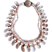 Little Creations Angel Skin Conch and Coral Triple Strand Shell Clasp Necklace Certified Appraisal $1685