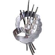 Vintage Silver Akoya A+ Cultured Pearl Japanese Brooch Certified Appraisal $690
