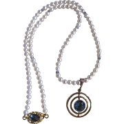 Vintage Biwa Cultured Pearl A Quality Necklace with London Blue Topaz GF Circle Pendent Certified Appraisal $1260
