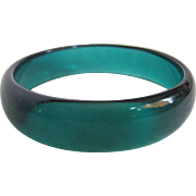 "Vintage Teal Lucite Transparent Unsigned Avon 2 1/2"" Bangle"