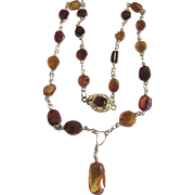 Vintage 18kt GP Natural Amber Wire Pendant Necklace Certified Appraisal $685