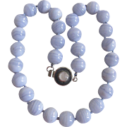 "Mid Century Vintage Blue Lace Agate 14mm 20"" Necklace with Sterling Moonstone Clasp Certified Appraisal $1685"