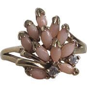 Vintage GP Natural Angel Skin Coral Navette Cabochon Ring Certified Appraisal $215