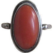 Vintage Salmon Natural Oval Cabochon Ring Silver 800 Size 5 3/4 Certified Appraisal $175