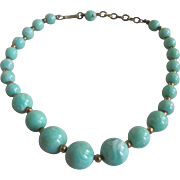 Vintage Rare Robin's Egg Blue Marbled Bakelite Graduated Necklace 15""