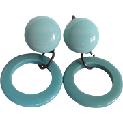 Art Deco Rare Robin's Egg Blue Bakelite Sterling Silver Leverback Pierced Earrings