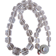 Vintage Rock Crystal Facetted Cube Graduated Beads Sterling Silver Moonstone Clasp Certified Appraisal $2020