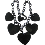 Early 20th Century Genuine Jet (Lignite) Mourning Jewelry Heart with Flat Fish Hook Chain Necklace Certified Appraisal $2380