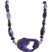 Little Creations 18kt GP  Druzy Geode Pendant with  Amethyst /GP Spacer Beads and Treated Cultured Pearl Beads Necklace