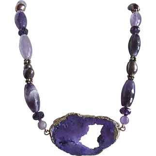 Little Creations 18kt GP  Druzy Geode Pendant with Vintage Amethyst and South Sea Baroque Pearl Beads Necklace Certified Appraisal $1210