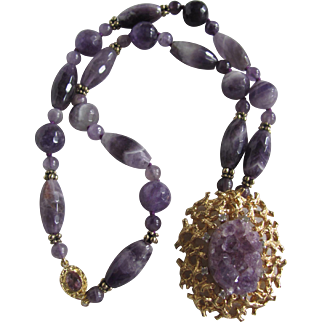 Little Creations 18kt GP Brutalist Style Geode Amethyst Crystal Pendant with Vintage Amethyst All sorts Beads Necklace Certified Appraisal $1185