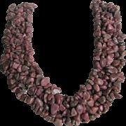 Vintage Rhodochrosite, Agate, Rose Quartz Pebble Bead Graduating 18 Inch Necklace