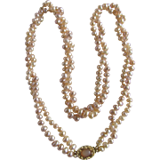 Vintage 18kt GP Peach Freshwater Cultured Pearl Moonstone Clasp 2 Strand Necklace