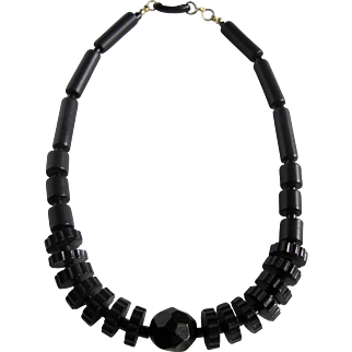 Antique Jet Dodecahedron & Cog & Rod Bead Graduated Necklace Certified Appraisal $2500