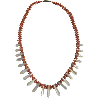 Victorian Graduated Carved Mother Of Pearl and Woven Cerise Coral Bead Necklace Certified Appraisal $750