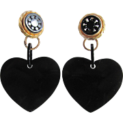 "Vintage Genuine Jet (Lignite) Mourning Jewelry Bold 3 1/2"" Lever Back 2 Part Heart Earrings Certified Appraisal $315"