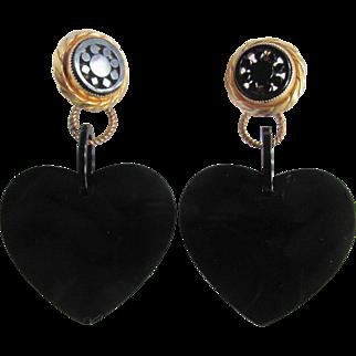"Vintage Genuine Jet (Lignite) Mourning Jewelry Bold 3 1/2"" Lever Back 2 Part Heart Earrings Certified Appraisal $315"