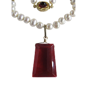 "Little Creations 18kt GP Freshwater Cultured Pearls with Red Paste ""Stellae"" Shaped Pendant Necklace Certified Appraisal $1485"