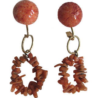 Little Creations  Salmon Branch Dangle and Sponge Coral Cabochon Omega Pierced Earrings