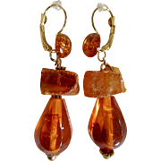 Little Creations Natural Raw and Reformed Amber Drops and Cabochon GP Dormeuse Pierced Earrings