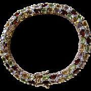 Vintage Chinese Export GP Sterling Diamond/Garnet/Peridot/Citrine/Pink Topaz Tennis Bracelet Certified Appraisal $1770
