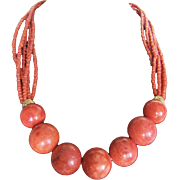Vintage Multi Strand Red Branch Coral with 16mm Apple Sponge Coral Necklace